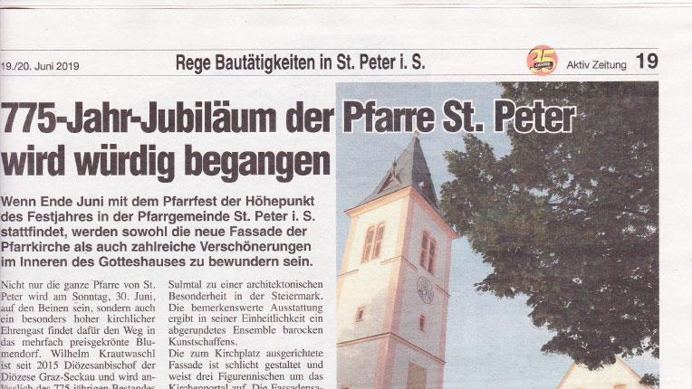 Read more about the article Restaurierungsarbeiten der Pfarre in St. Peter im Sulmtal – Aktiv Zeitung