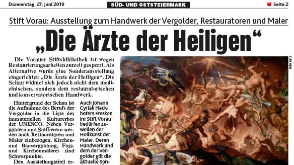 Read more about the article Stift Vorau: Ausstellung zum Handwerk der Vergolder, Restauratoren und Maler – Bericht Kronen Zeitung