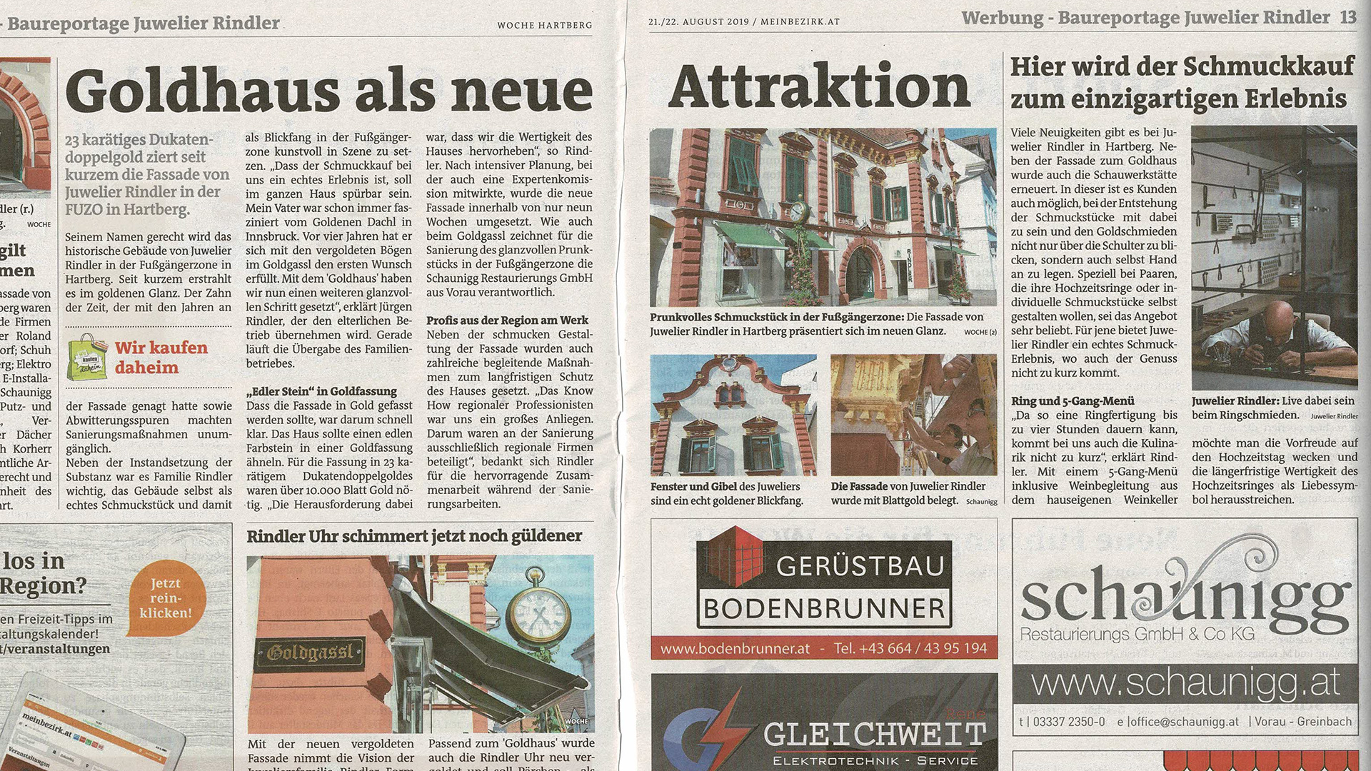 Read more about the article Vergoldung Fassade Juwelier Rindler Baureportage – Hartberger Woche